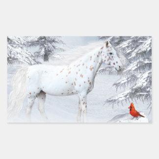 Winter appaloosa rectangular sticker