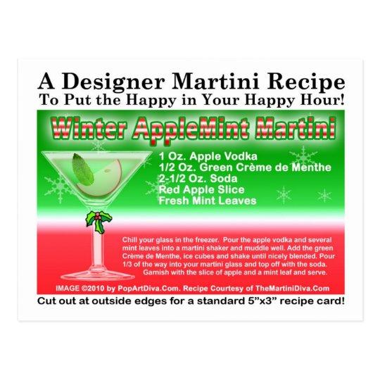 Winter Apple Mint Christmas Martini Recipe Card
