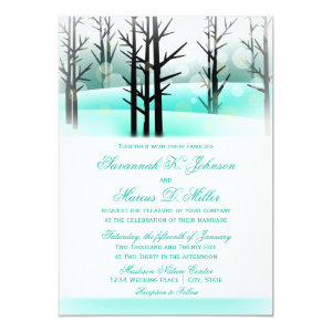 Winter Aqua Woodland Trees Wedding Invitations