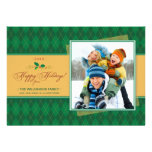 Winter Argyle Happy Holidays Flat Card (green)