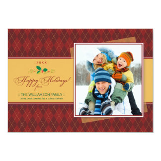 Winter Argyle Happy Holidays Flat Card (red)