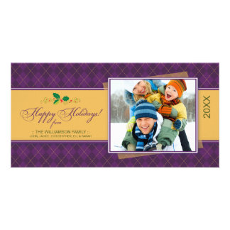 Winter Argyle Happy Holidays Photocard (purple) Card