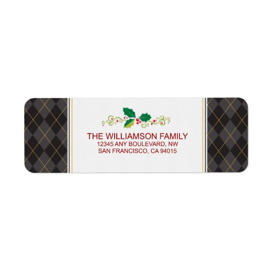 Winter Argyle Return Address Labels (black)