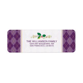 Winter Argyle Return Address Labels (purple)