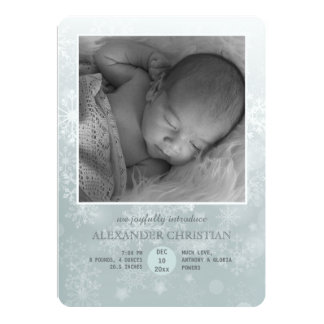 Winter Arrival Photo Birth Announcement Vertical