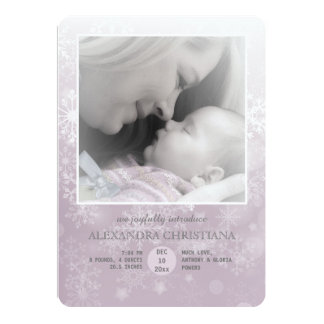 Winter Arrival Rose Photo Birth Announcement