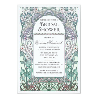 Winter Art Nouveau Bridal Shower Invitations