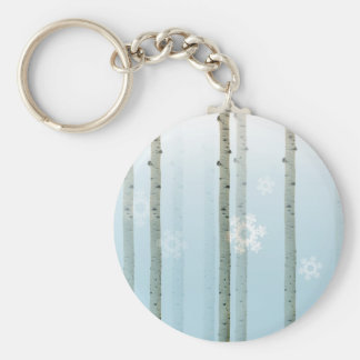 Winter Aspen Woods Holiday Keychain