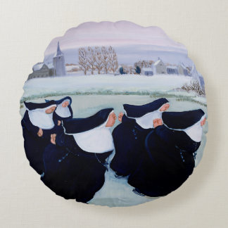 Winter at the Convent Round Pillow