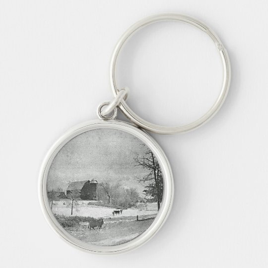 Winter at the Farm Keychain