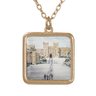 Winter at Windsor Castle by Farida Greenfield Gold Plated Necklace