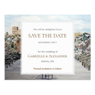 Winter at Windsor Castle Wedding Save The Date Postcard