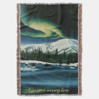 Winter Aurora Blanket Canadian Art Throw Blanket