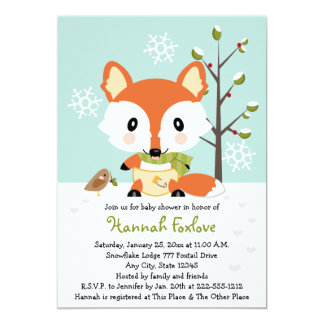 Winter Baby Fox in Diapers Baby Shower 5x7 Paper Invitation Card