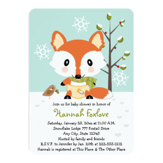 Winter Baby Fox in Diapers Baby Shower Card