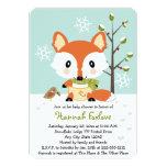 Winter Baby Fox in Diapers Baby Shower Custom Announcements