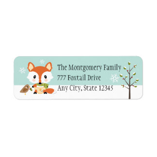 WINTER BABY FOX IN DIAPERS RETURN ADDRESS LABEL