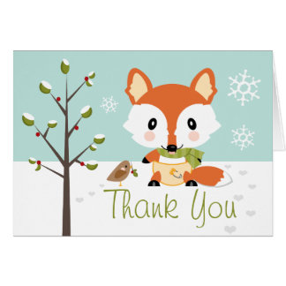 WINTER BABY FOX IN DIAPERS THANK YOU STATIONERY NOTE CARD