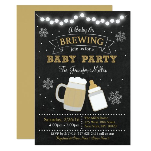 Winter Baby Is Brewing Baby Shower Invitation