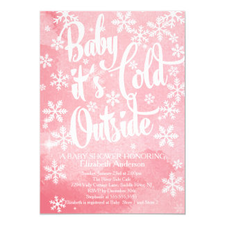 Winter Baby It's Cold Outside Girls Baby Shower Card