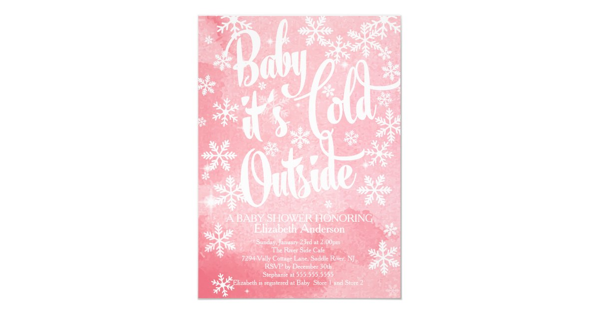 Winter Baby It S Cold Outside Girls Baby Shower Invitation