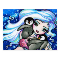 Winter Baby Penguins Mermaid Fantasy Art Postcard