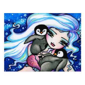 Winter Baby Penguins Mermaid Fantasy Art Postcard