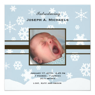 Winter Baby Photo Birth Announcement