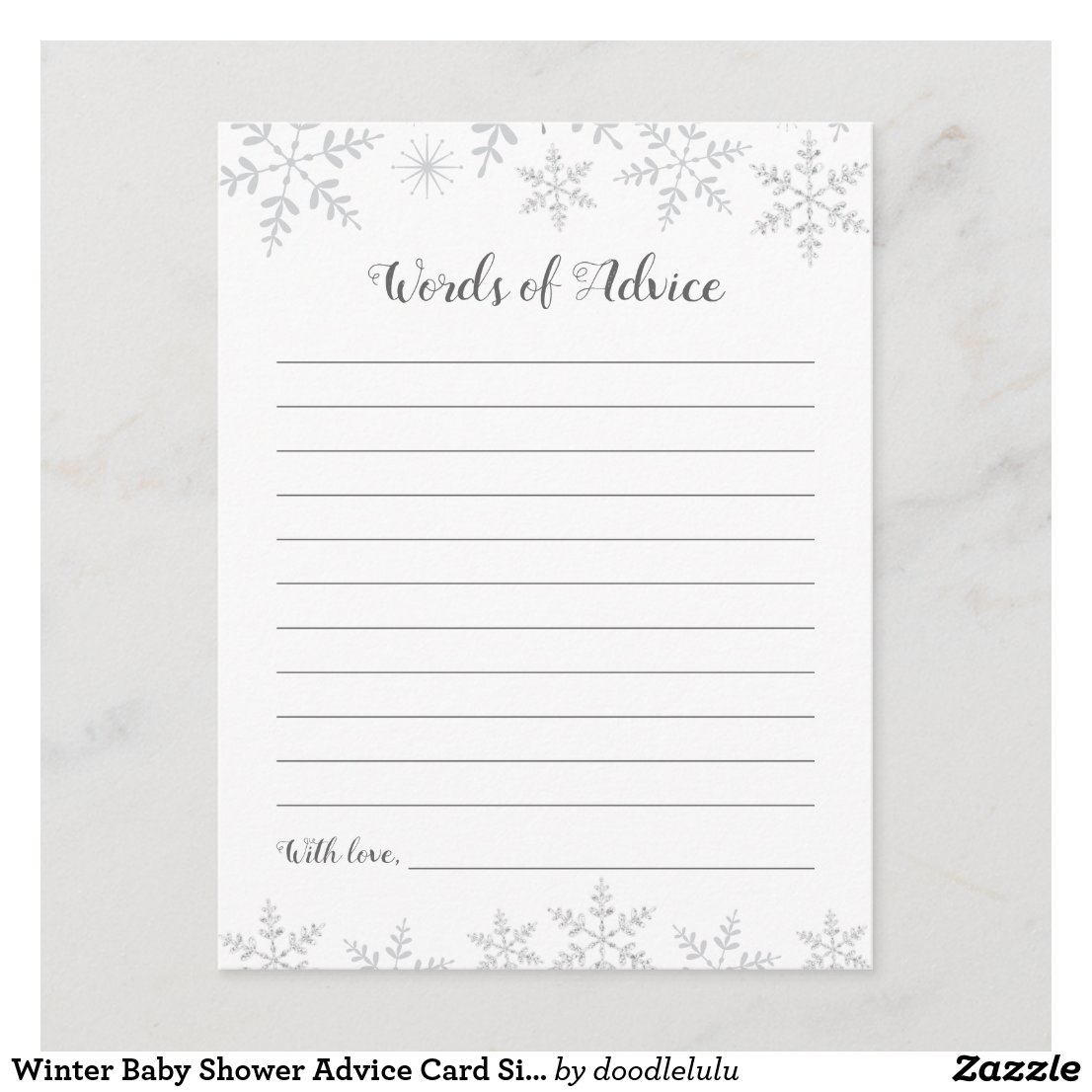 Winter Baby Shower Advice Card Silver Snowflakes