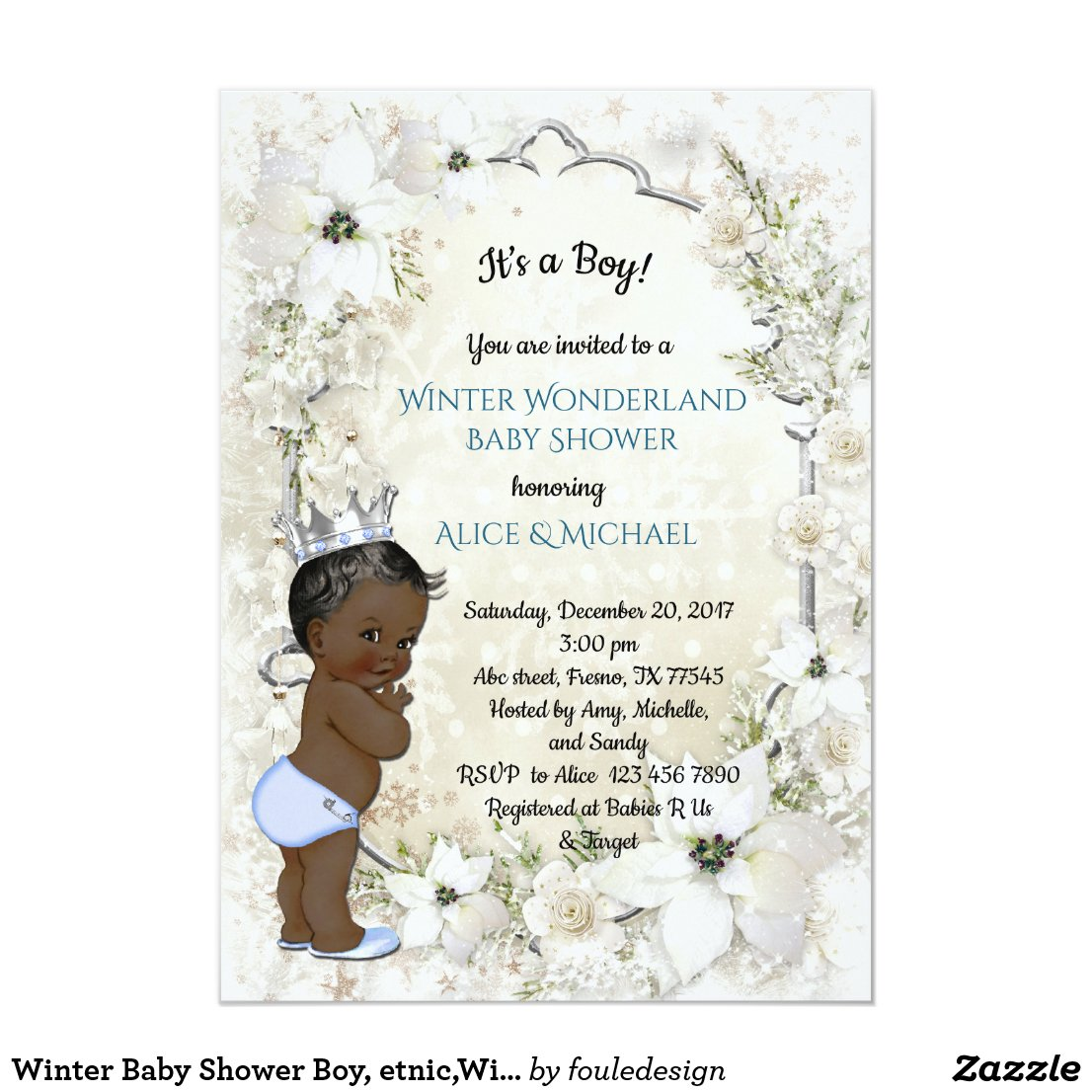 Winter Baby Shower Boy, etnic,Winter Wonderland Card