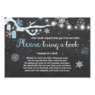 Winter Baby Shower Bring a book Blue boy Card