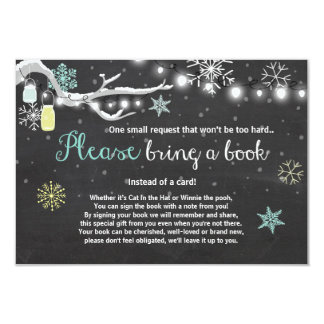 Winter Baby Shower Bring a book Mint Yellow Card