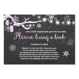 Winter Baby Shower Bring a book Pink Girl Card