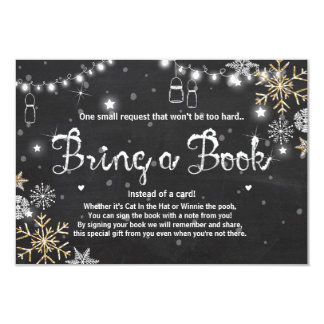 Winter Baby Shower Bring a book Silver Gold Black Card