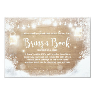Winter Baby Shower Bring a book Snow Rustic wood Card