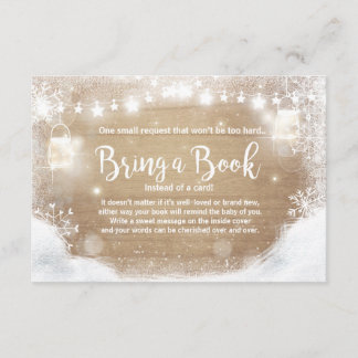 Winter Baby Shower Bring a book Snow Rustic wood Enclosure Card