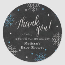 Winter Baby Shower Chalkboard Thank You Classic Round Sticker