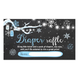 Winter Baby Shower Diaper Raffle Card Blue snow