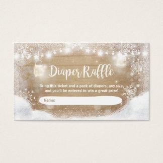 Winter Baby Shower Diaper Raffle Card Rustic Snow