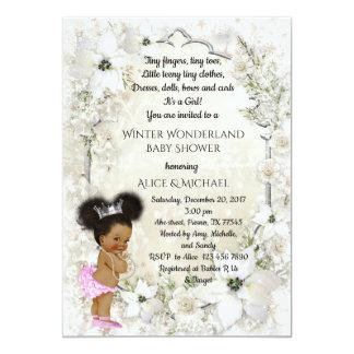 Winter Baby Shower Girl, etnic, Winter Wonderland Card