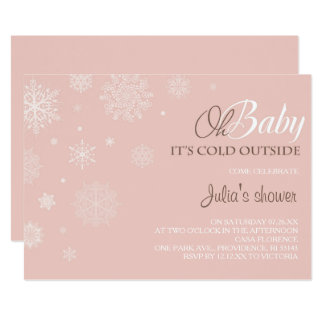 Winter Baby Shower Invitation   Blush Pink