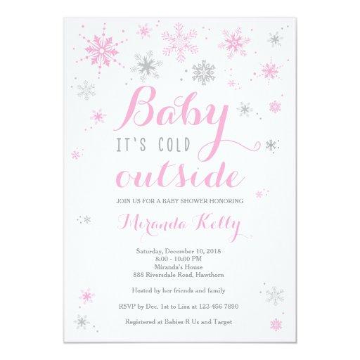 winter baby shower invitation pink baby shower card zazzle