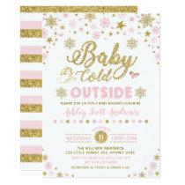 Winter Baby Shower Invitation Pink Gold Snowflake