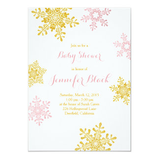 Winter Baby Shower Invitation | Pink Gold White