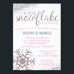 """Winter Baby Shower Invitation - Pink Snowflake<br><div class=""""desc"""">Our winter baby shower invitation is perfect for any pink and silver snowflake shower theme.</div>"""