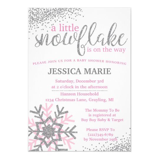 winter baby shower invitation pink snowflake zazzle com