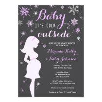 Winter Baby Shower Invitation, Purple Baby Shower Card