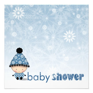 Winter Baby Shower Invitations Snowflakes and Baby