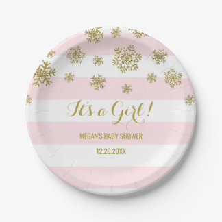 Winter Baby Shower Plate Pink Stripes Gold Snow