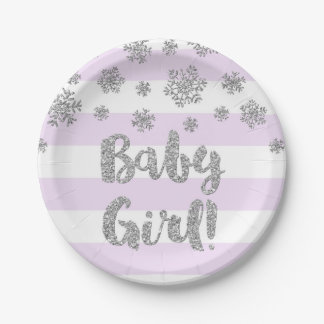 Winter Baby Shower Plate Purple Stripe Silver Snow